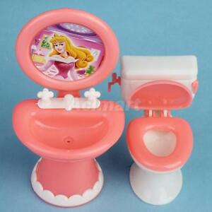 Set-Bathroom-Toilet-amp-Sink-Mirror-for-Barbie-Doll-House-Furniture-Miniature