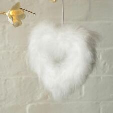 White Vintage Feather Hanging Love Heart Christmas Tree Wedding Decorations