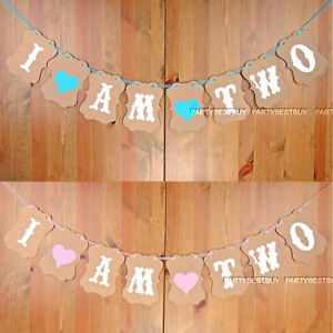Image Is Loading I AM TWO Bunting Garland Banner Baby Girl