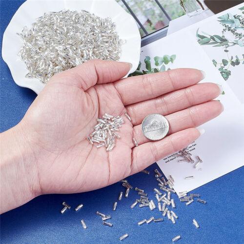 50 g Argent doublé en verre blanc twist CLAIRONS seed beads Crafts 6x1.8mm Trou 0.6 mm
