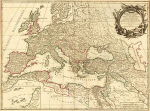 A Poster Vintage Style Map Of Europe Picture Print Brittan World - Vintage europe map poster