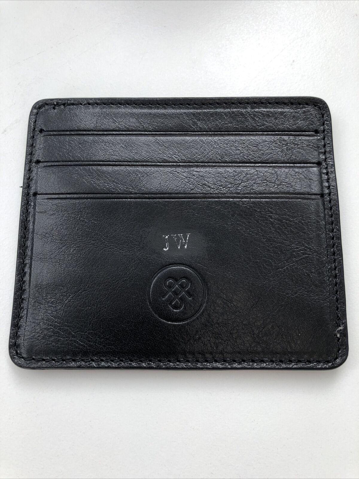 Maxwell Scott Luxury Italian Leather Black Marco Card Holder Rrp