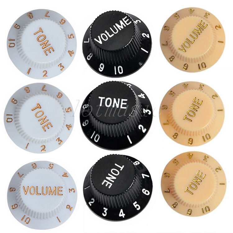 3 volume tone control knobs for fender strat electric guitar black white cream 634458303170 ebay. Black Bedroom Furniture Sets. Home Design Ideas