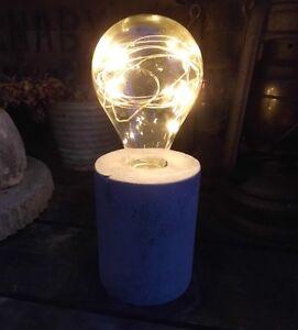 Led Lampe Gluhbirne Glas Gartendeko Zementsockel Garten Lichterkette