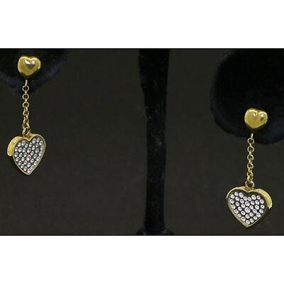 CBI designer signed 18K gold cubic zirconia (CZ) cluster heart dangle earrings