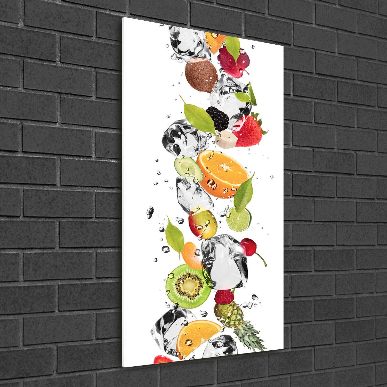 Wand-Bild Kunstdruck aus Hart-Glas Hochformat 50x100 Obst und Wasser