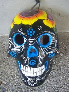 Day of the Dead Painted Ceramic Skull Wall Sconce/Candleholder - Black - Mexico