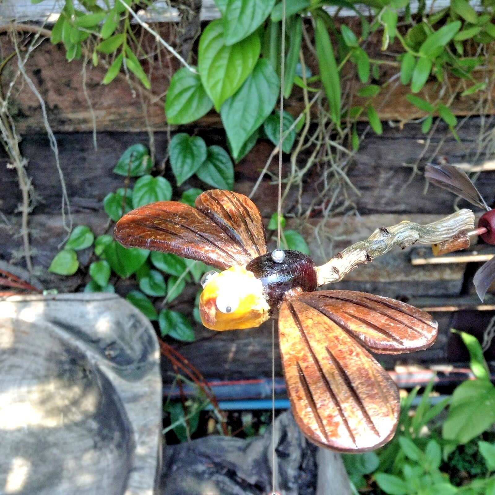Dragonfly Hanging wind spinner patio wooden animal statue wind chime home decor
