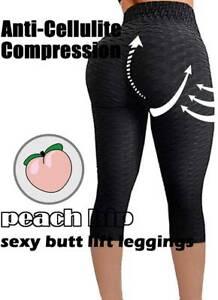NEW-Women-Capri-Yoga-Pants-Gym-Anti-Cellulite-Leggings-Push-Up-Ruched-Sport-P32