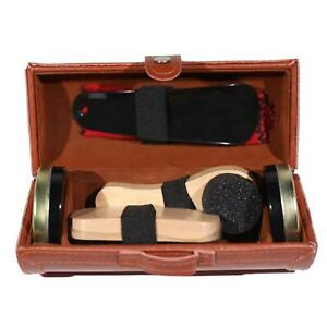 Shoe Cleaning Care Kit Set for Brown Black Leather with Polish Brush Travel Case