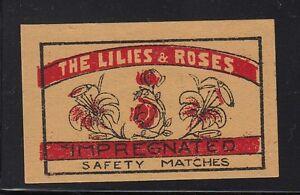 Ancienne étiquette allumettes Belgique A323 Lys et Rose DBkDLOR5-09154709-765478260