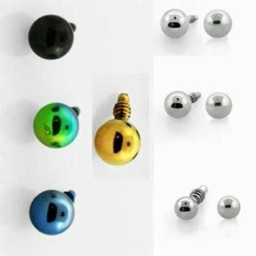 2-4mm Stainless Steel Circle Ball Dermal Screw Head Top Dome Simple Studs 1-4PC