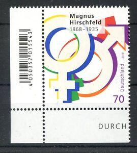 Bund-BRD-3403-Ecke-3-EAN-Code-70-Magnus-Hirschfeld-Postfrisch-2018