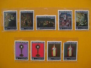 COLOMBIE-1966-YTn-483-487-39-eme-congres-Eucaristique-poste-aerienne