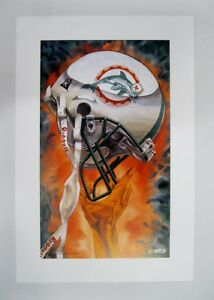 """Miami DOLPHINS NFL Football 20"""" x 30"""" Team Lithograph Print by Kelly Russell"""