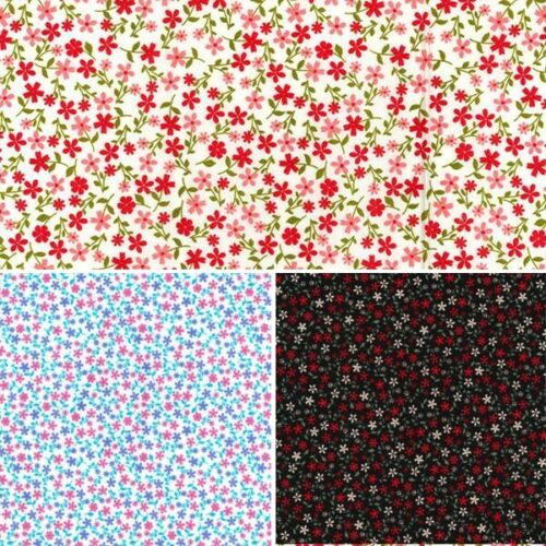 100/% Cotton Poplin Fabric Rose /& Hubble Tiny Ditsy Floral Flower Heads