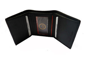 100% Original  Sheep Leather  Tri Fold Money Wallet Purse for Men Gents - Black
