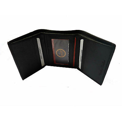 100% Original  Sheep Leather  Tri Fold Money Wallet Purse for Men Gents - Black