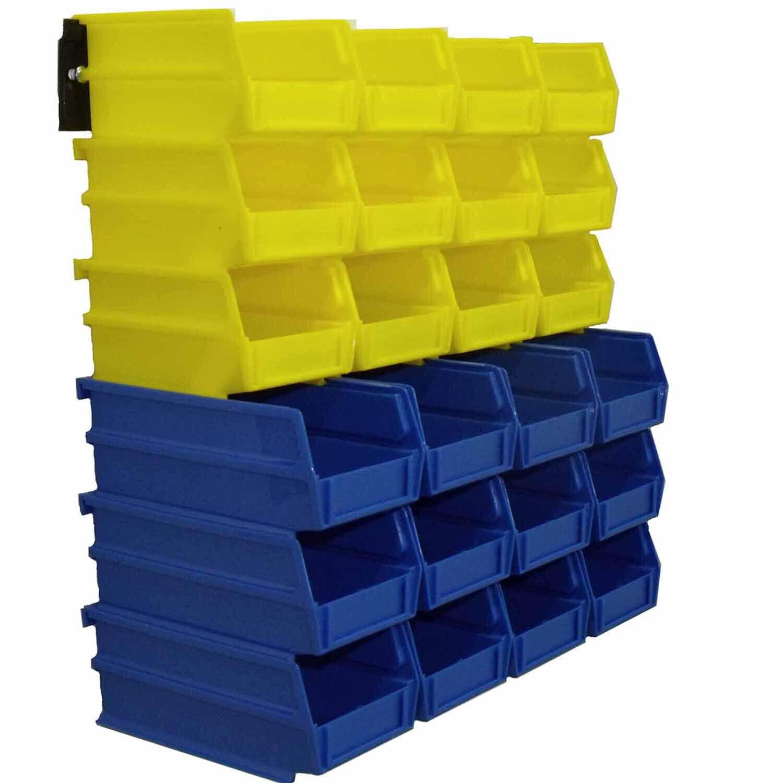 LOCBIN 24 PCS Plastic Bins Wall Storage System Garage Shop Office Tool Organizer