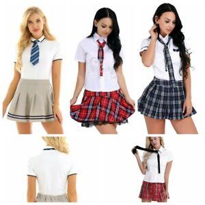 Women School Girl Uniform Costume Outfit Dress Cosplay Shirt Plaid Tie Skirt
