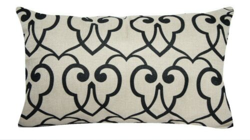 "12x20/"" Vintage Black Geometric Throw PILLOW COVER Sofa Couch Bed Cushion Case"