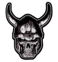 Motorcycle Biker Uniform Patch 9 X 11 Viking Skull In Horned Helmet
