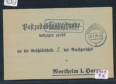 Post-zu 1939 Tropf-Trocken 93353 hnvr. Landpost Ra2 Elvershausen über Northeim
