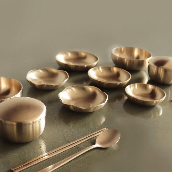 Korean Handmade brassware Yugi Traditionnel 5-Side Meal 15P (Ver.2) Hallyu