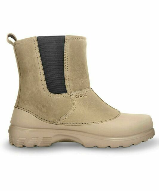 db7d02a7116b Crocs Greeley Leather Lined Waterproof Work Boot Beige Mens Size 8 ...