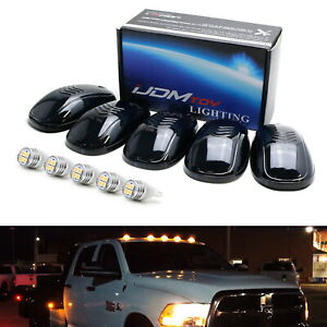 5pc-Set-Smoked-Lens-Truck-Cab-Roof-Lights-w-Amber-LED-Bulbs-For-Truck-SUV-4x4