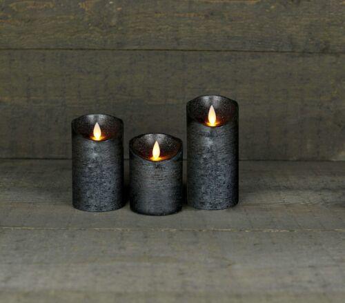3er Set LED Echtwachskerze Kerze Farbauswahl Timer flackernde Wachskerze Kerzen
