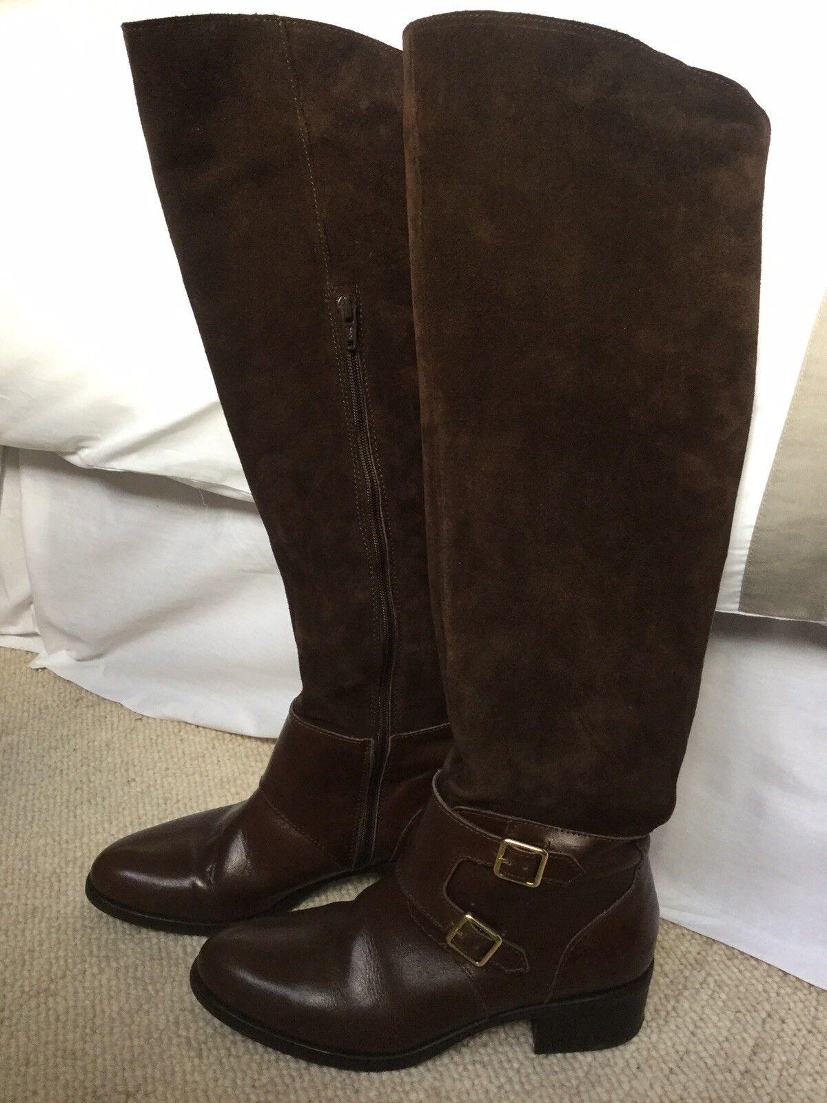 Cuero y botas de gamuza largo hasta la rodilla oscuro marrón Talla 4 37