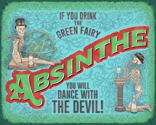 "10/"" x 8/"" ABSINTHE GREEN FAIRY DRINK DEVIL PUB BAR MAN CAVE METAL PLAQUE SIGN 604"