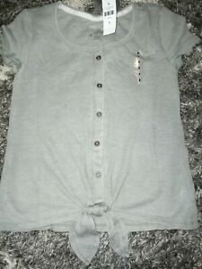 Girls-justice-ruffled-front-knot-button-up-size-8-new-grayish-green