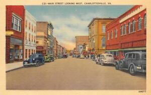 CHARLOTTESVILLE-VA-Main-Street-Scene-Virginia-ca-1940s-Vintage-Linen-Postcard