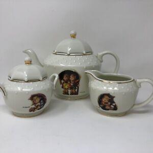 Danbury-Mint-Hummel-Porcelain-Tea-Set-Stormy-Weather-Umbrella-Boy-Girl-Goebel