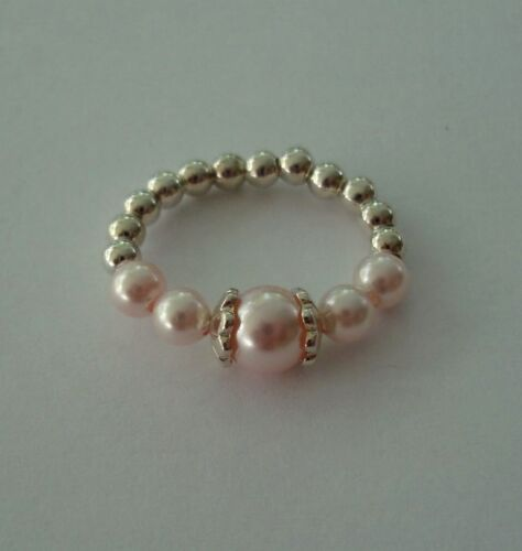 Crystal pearl /& sterling silver toe ring fancy bead caps elegant great quality