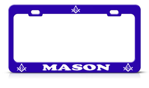 MASON License Plate Frame Metal BLUE Steel Heavy Duty Tag Border
