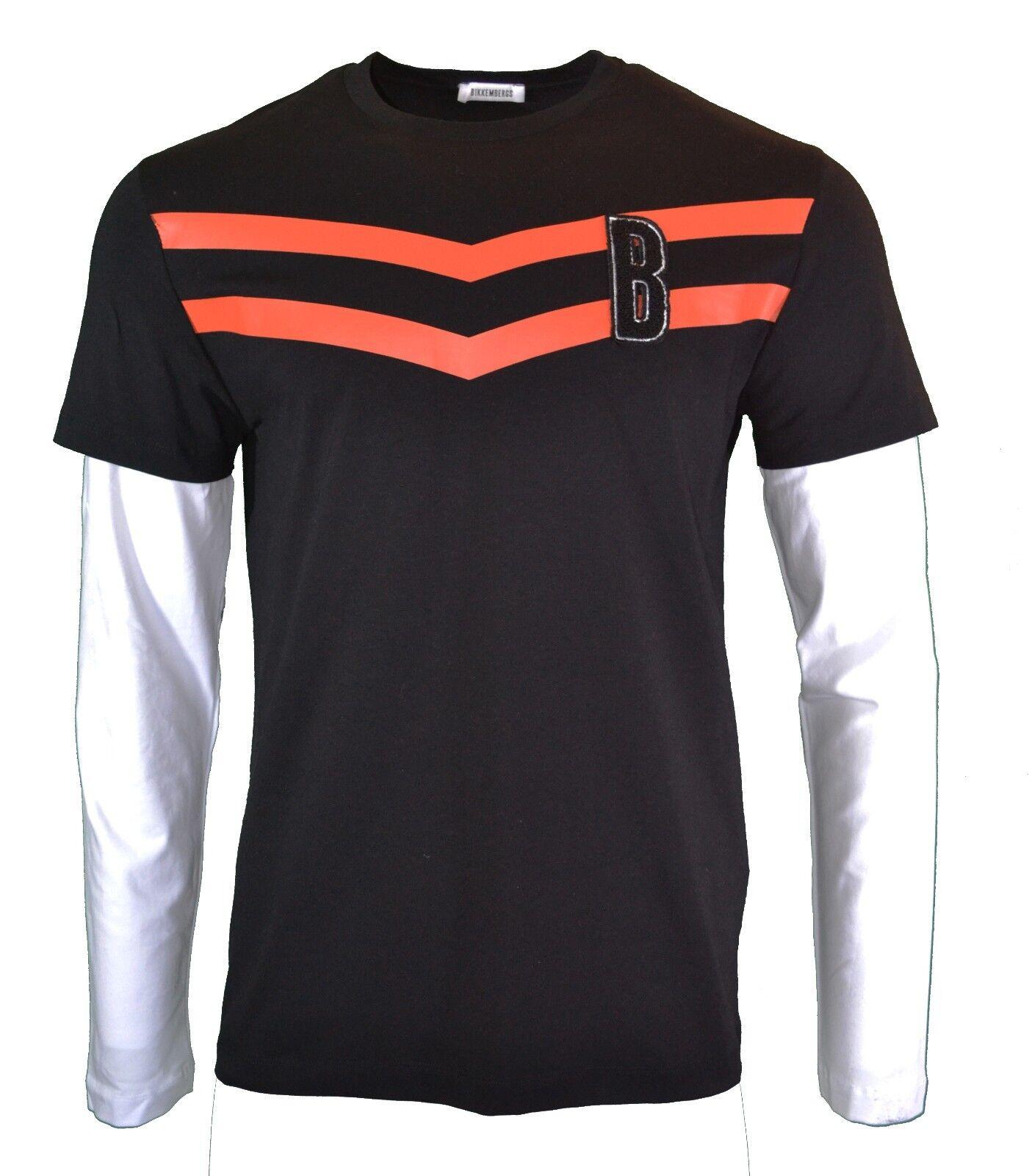 50% OFF   BIKKEMBERGS doppio strato a manica lunga T-Shirt Top Nero Arancione RARO