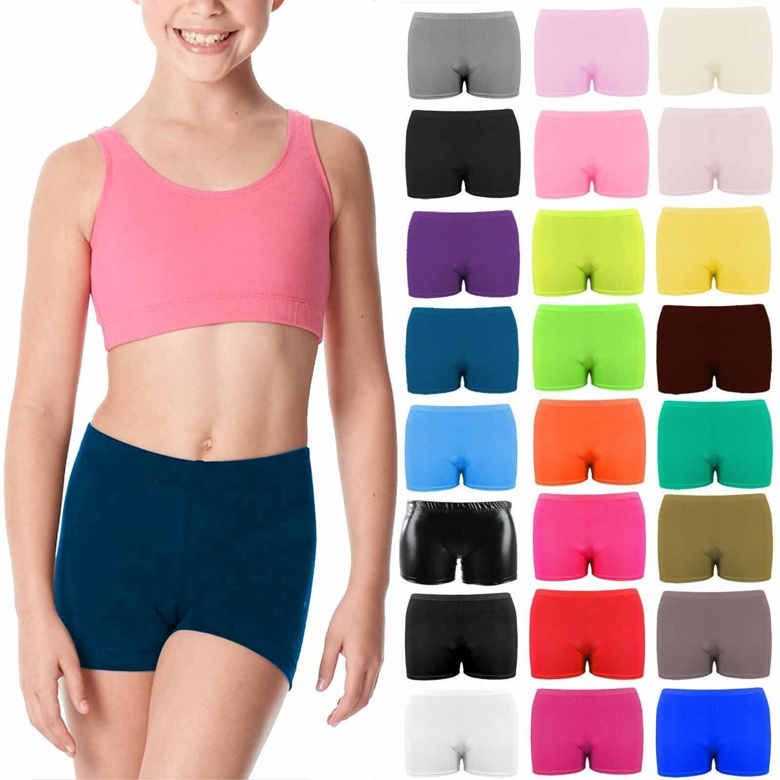 Girls Microfiber Hot Pants Shorts School Dance Gym Lycra Stretch Shorts Age 3-13