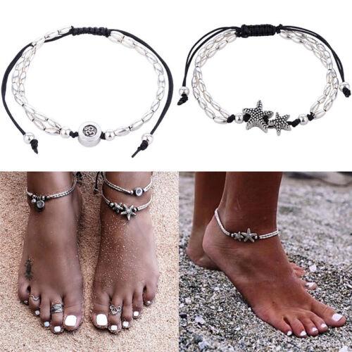 Été Bohème étoile de mer bracelet cheville femme bijoux pied BouddBB