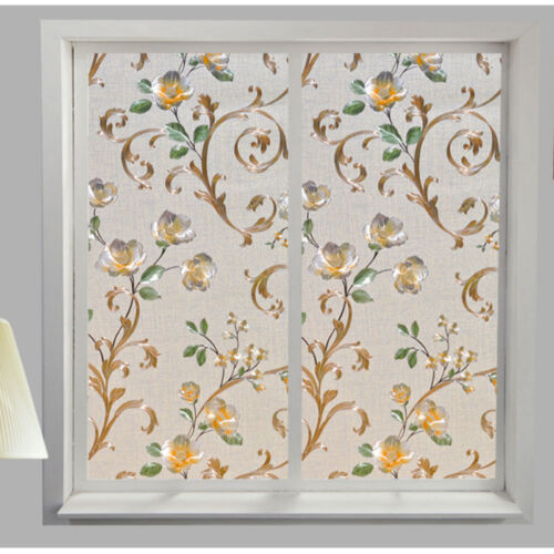 Privacy Window Glass Sticker Floral Frosted Decor Waterproof Film Home Decor DIY