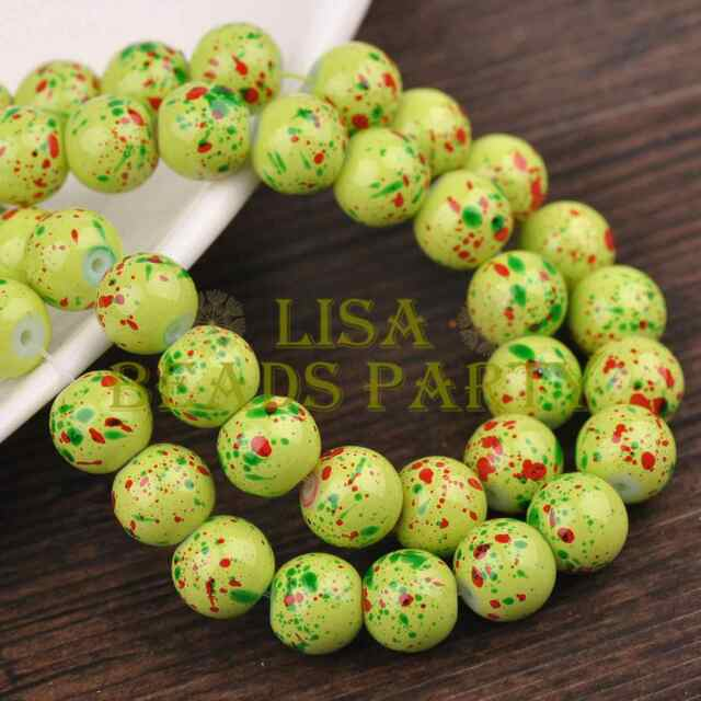 Hot 30pcs 8mm Round Charms Loose Glass Spacer Beads Green Red Dots Findings