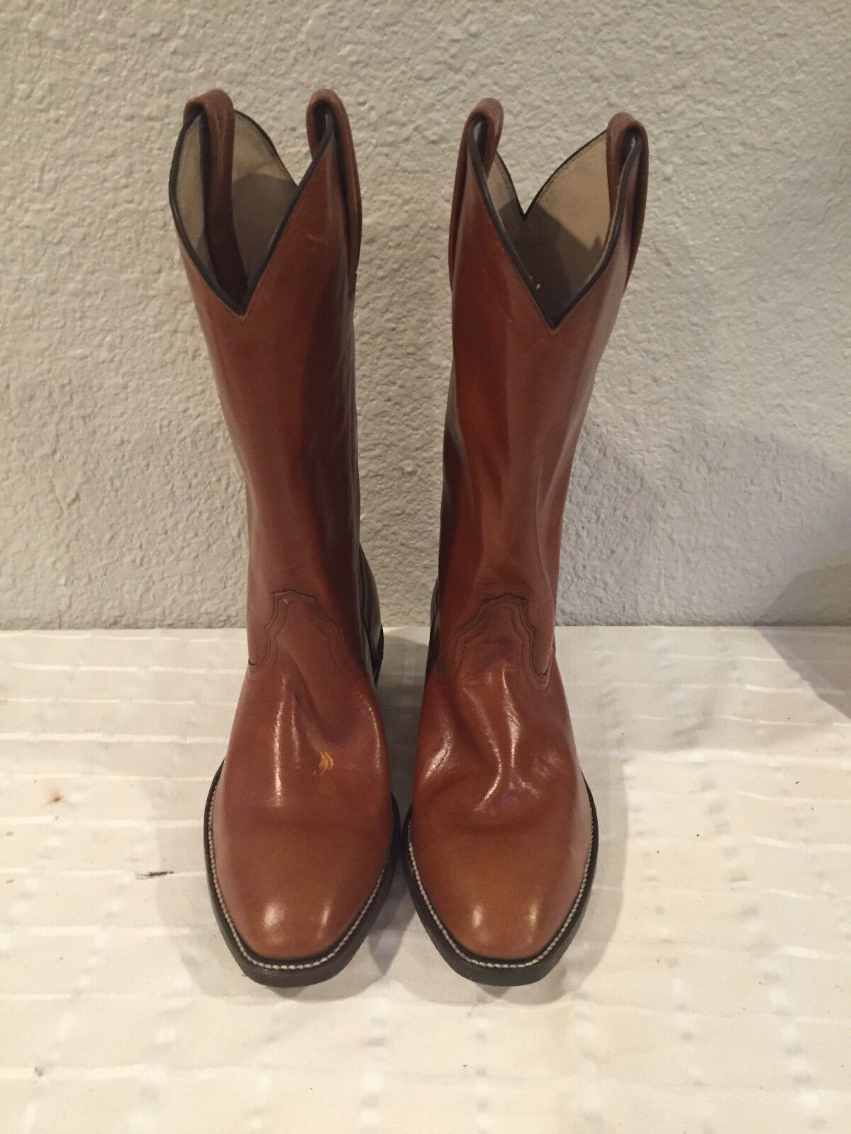 New Frye Brown Smooth Leather Cowboy Western Men's Boots 9EE Made in USA