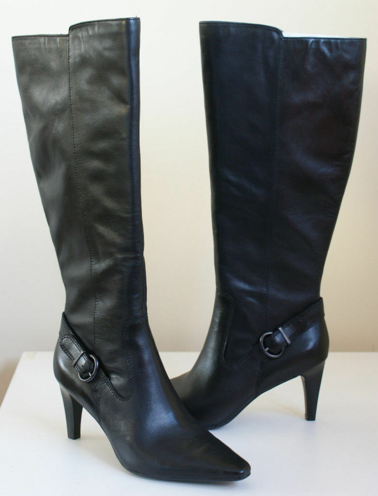 200 CIRCA Joan David ENTERTAIN Black Leather Knee Zip Boots 8.5 NEW IN BOX