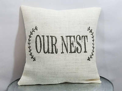 """pillow cover or custom color Custom off white burlap /""""Be our guest/"""" wreath GRAY"""