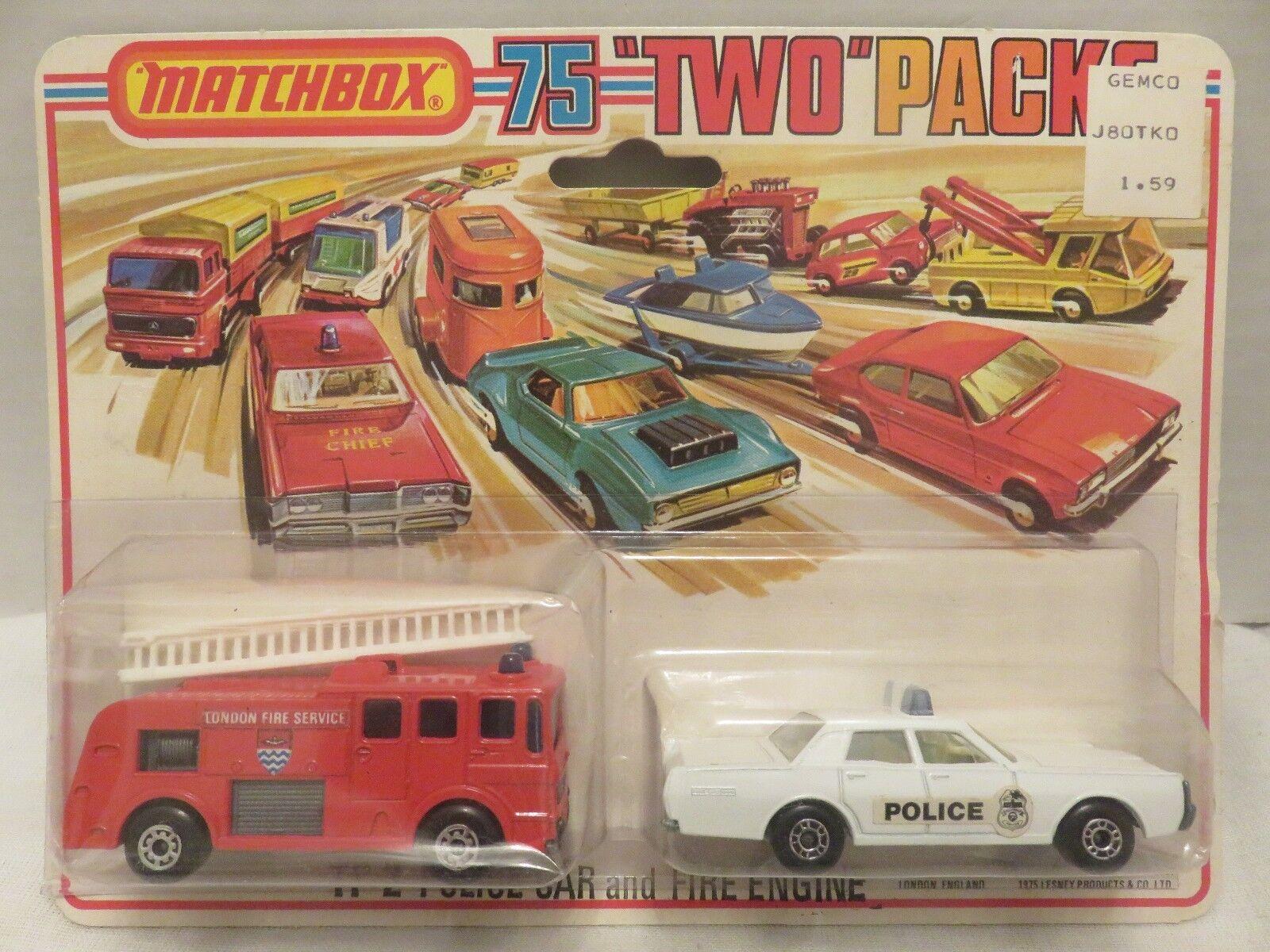 1976 Matchbox dos paquetes patrulla Mercurio bomberos TP-2 Metal Fundido a Troquel