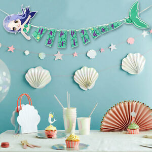 1Set-Happy-Birthday-Banner-Flag-for-Kids-Mermaid-Birthday-Party-Hanging-Decor