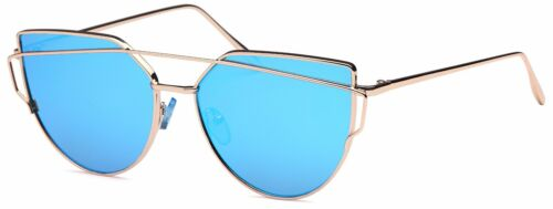 Trendy Fashion Large Cat Eye Mirrored Flat Lens Metal Frame Women Sunglasses Mia
