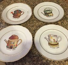 """4 LIMOGES 1855 a L MARINO Arrosoir Watering Can Plates 7.5"""" Excellent"""